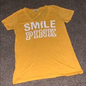 Smile Pink V neck tee shirt